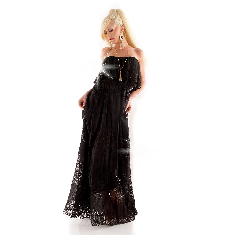 Damen Bandeau Spitzenkleid Maxikleid Maxi Kleid Dress aus edler Spitze  schulterfrei rückenfrei schwarz 38 (M): Amazon.de: Bekleidung