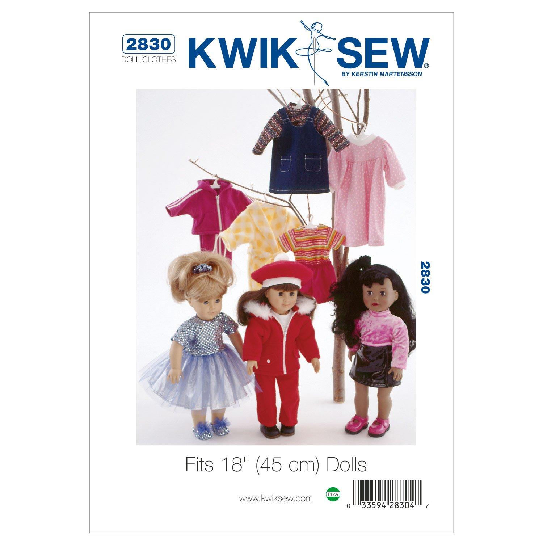 Kwik Sew Mustern k2830Größe passt 18Puppen Puppe Kleidung, weiß, 1Stück weiß 1Stück McCall Pattern Company K2830OSZ