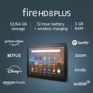 """Fire HD 8 Plus tablet, HD display, 32 GB, latest model (2020 release), our best 8"""" tablet for portable entertainment, Slate"""