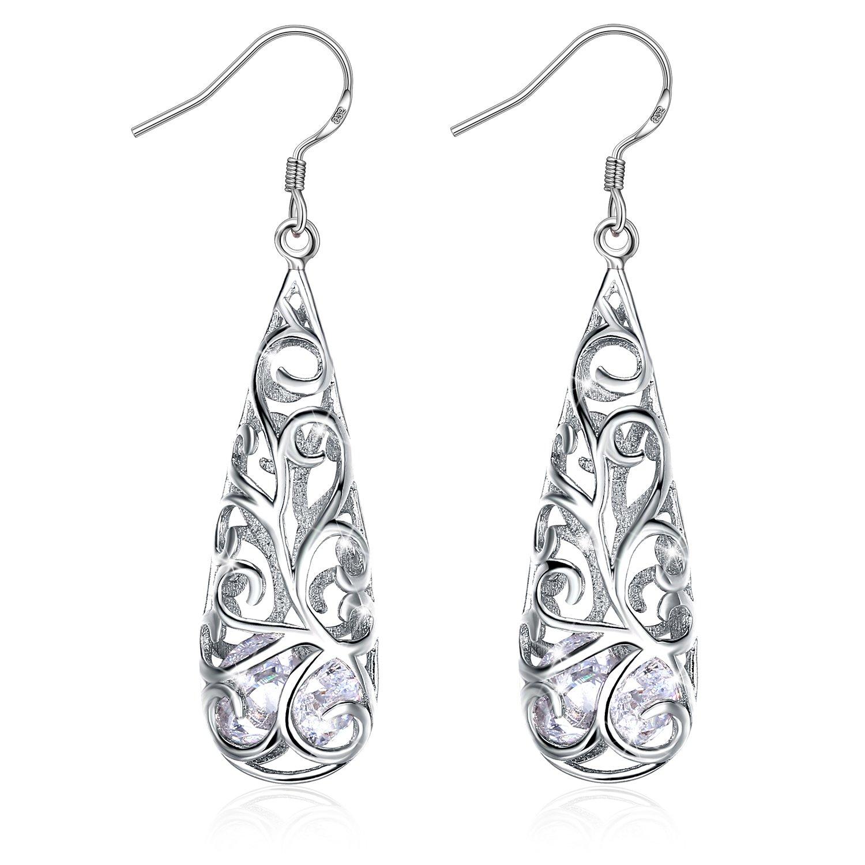 J.Rosée Vintage Sterling Silver Hollow Water Drop Filigree Dangle Earrings for Women
