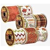 Decorative Autumn Harvest Fall Wire-Edged Ribbon, 3-yd. Spools, 7-ct Set