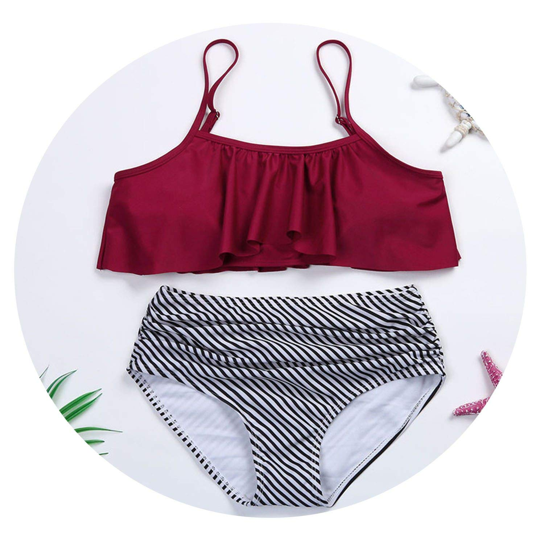 2551464f8be Red Small Zombie Jessica Women's Sling Lotus Leaf Striped Swimsuit Bikini  Set Swimwear Women's Swimming Suit