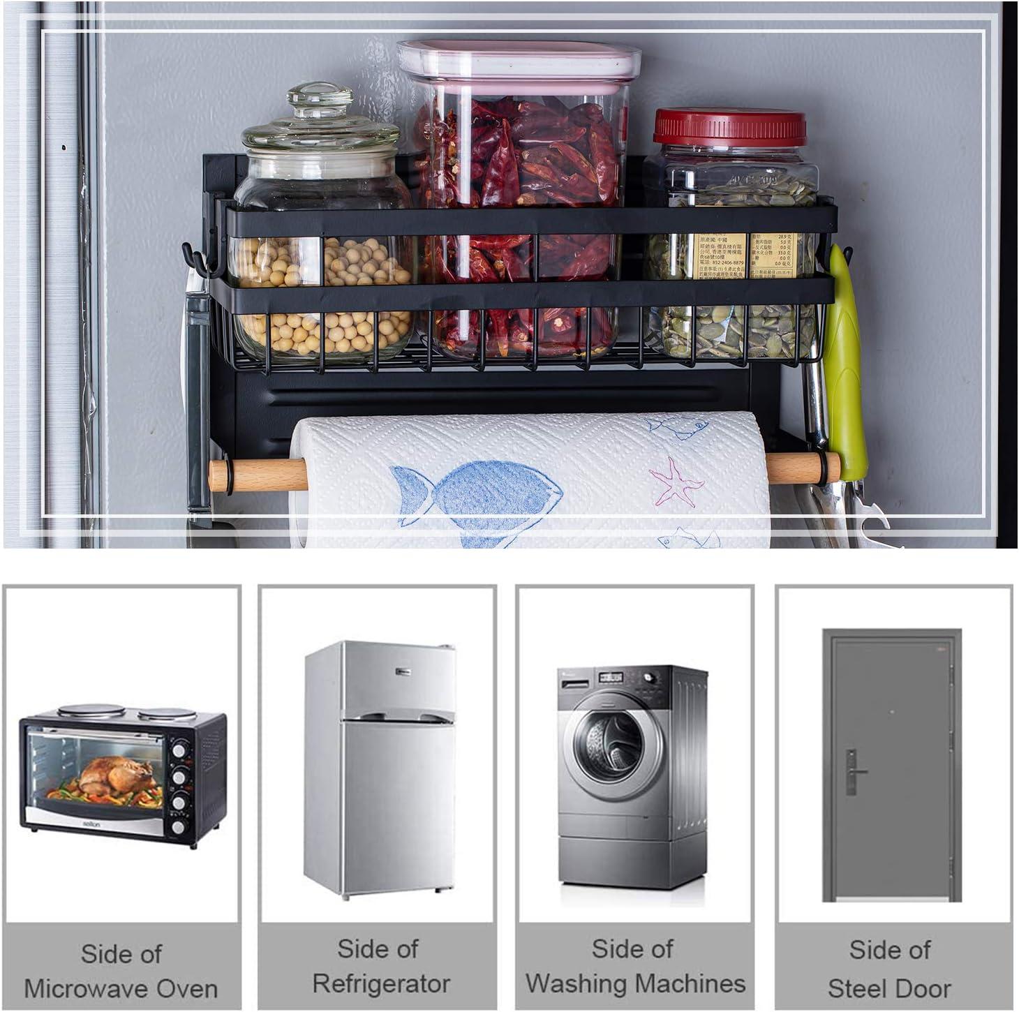 soporte para toallas de papel Especiero Magn/ético para refrigerador con gancho estante lateral para refrigerador de usos m/últiples tarros de especias a prueba de /óxido Estante Lateral Nevera