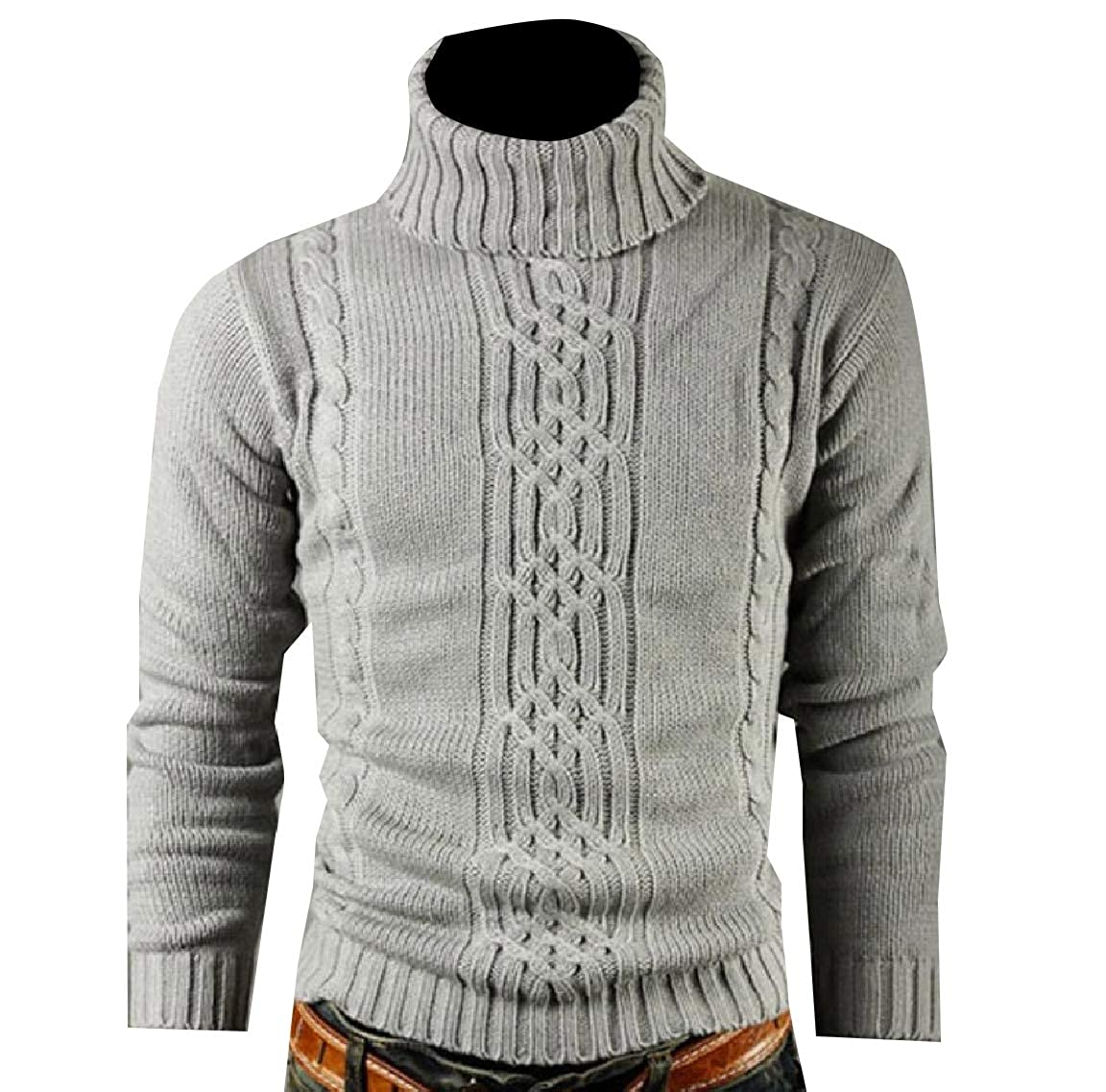 Andopa Men Slim Ribbed Knit Plus-Size Thickened Twist Jumper Pullover