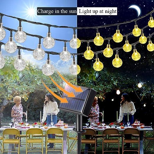 Aenamer Guirnalda Luces Exterior Solar, 17M 100 LED Impermeable Cadena de Luces 8 Modos de Luz para Decoración Hogar Jardín Terraza Patio Fiestas Navidad, Blanco Calido: Amazon.es: Iluminación