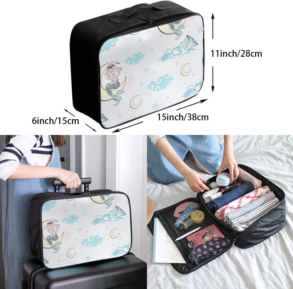 Yunshm Moon Mermaid Pattern Merry Christmas Personalized Trolley Handbag Waterproof Unisex Large Capacity For Business Travel Storage