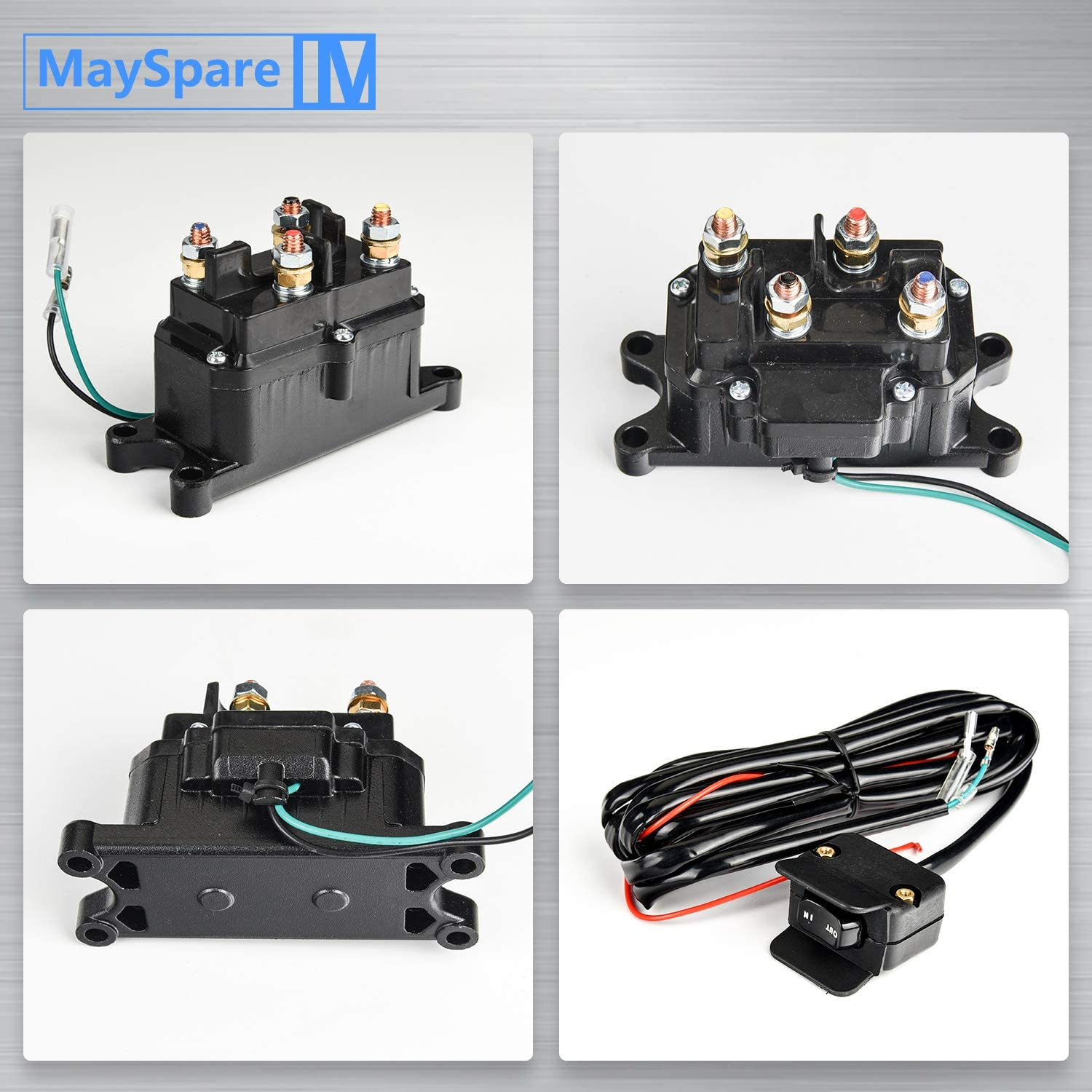 MaySpare 250A Solenoid Relay Contactor /& Winch Rocker Thumb Switch Combo with Mounting Brackets Terminal Caps for ATV UTV 1500lb-5000lb