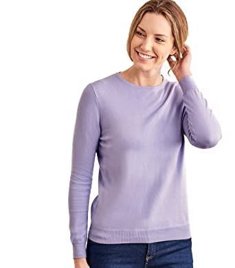 26fdbb2d418 Womens Cashmere and Cotton Crew Neck Knitted Sweater Lavender