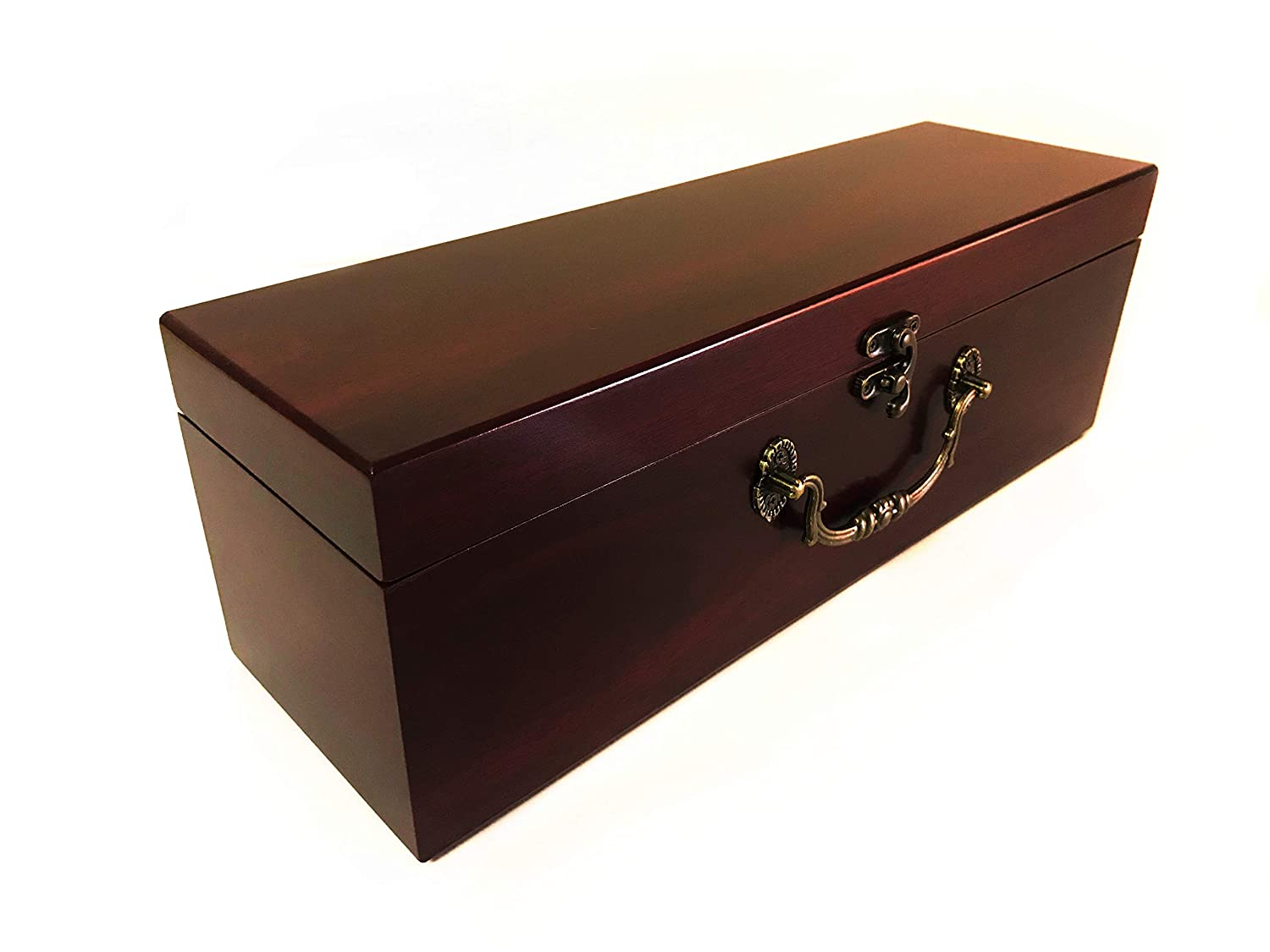 Case with Accessories ASC Wine Presentation Box Wine Gift Box Velvet Lined Detailed Ornate Metal Handle and Clasp