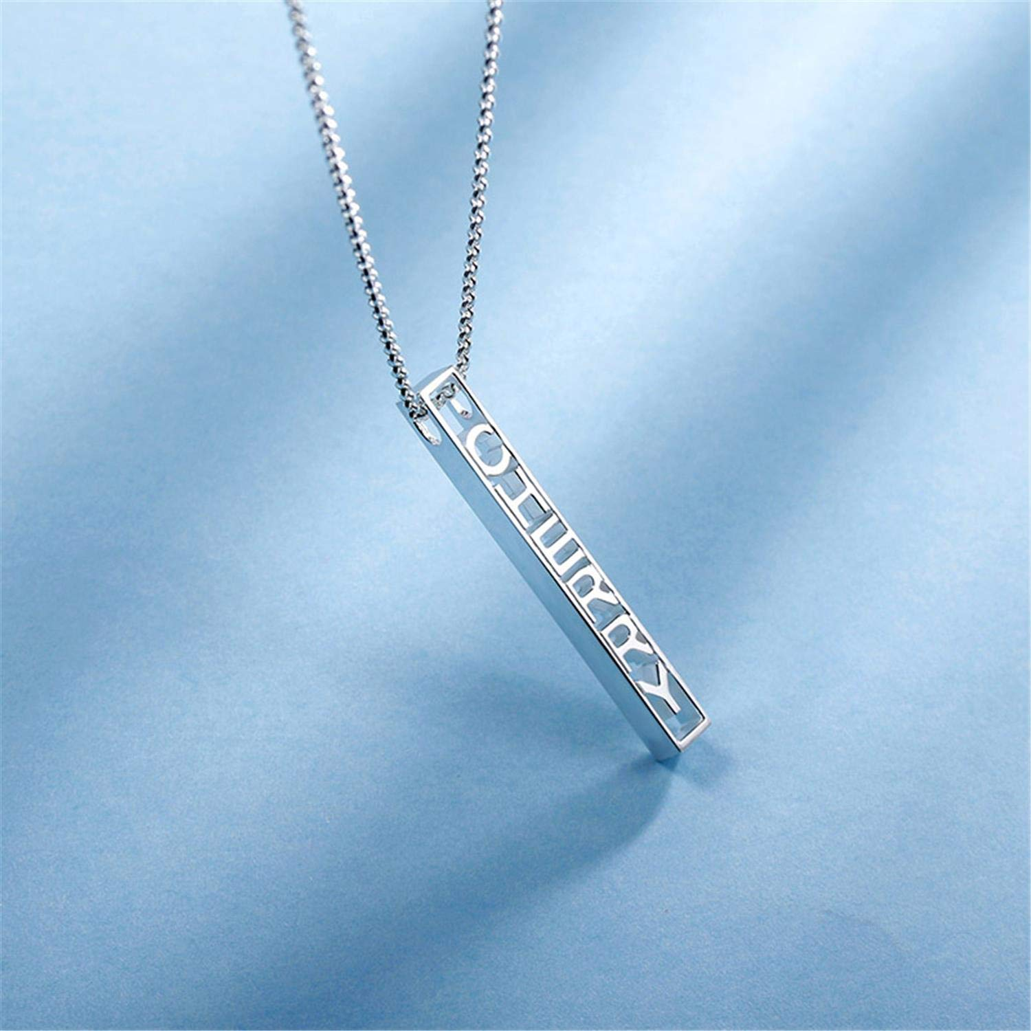 Getname Necklace Sterling Silver 3D Hollow Out Bar Necklace Personalized Hand Stamped Necklace for Womens