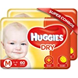 Huggies New Dry Medium Size Diapers Combo Pack of 2, 60 Counts Per Pack (120 Counts)