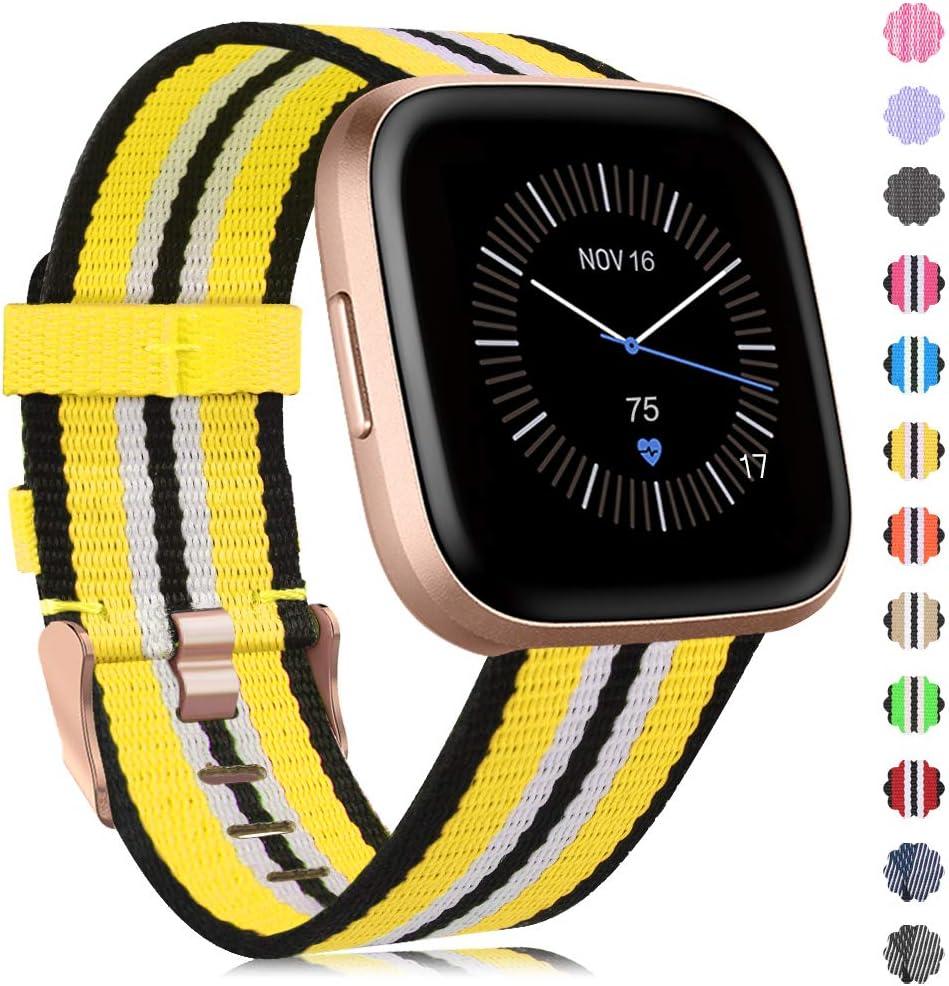 Band Nylon Verstellbares Ersatzarmband Kompatibel mit Fitbit Versa Smartwatch Versa Lite//Versa Se Armband Gewebtes f/ür Frauen M/änner Onedream Kompatibel mit Fitbit Versa//Versa 2