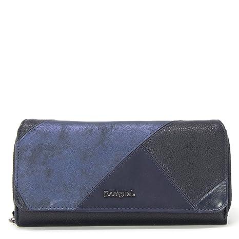 Desigual - Cartera para mujer de poliuretano azul talla única
