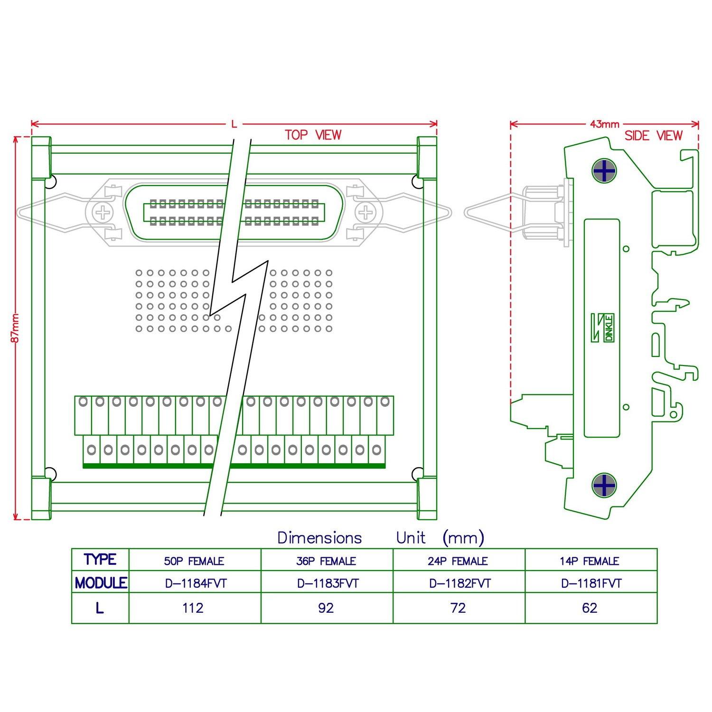 morsettiera a vite Breakout Board. electronics-salon supporto DIN 0,2/cm centronics pin femmina a nastro connettore modulo di interfaccia