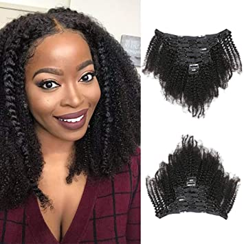 Amazon Com Afro Kinky Curly Clip In Hair Extensions Human Hair