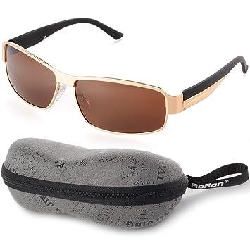 Aoron UV400 Gafas Sol Deportivos Exteriores Conducción Polarizados Hombres Color Dorado OS384