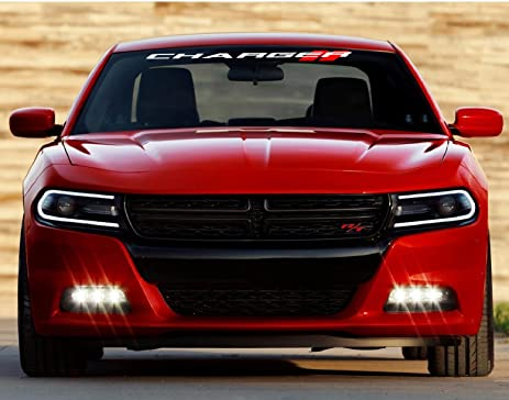 Dodge charger windshield decal white with red stripes 40 inch