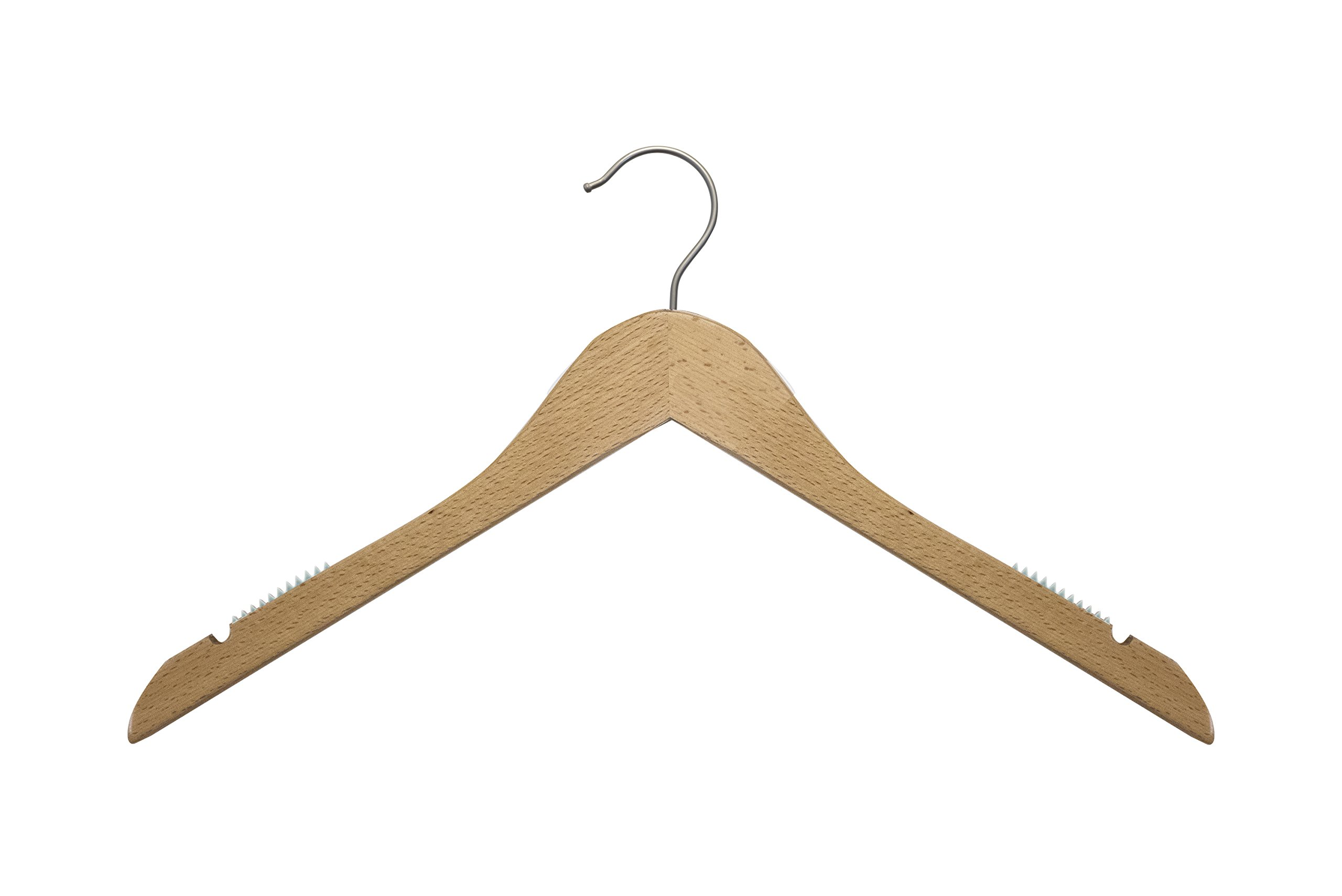 NAHANCO 20617 Wooden Top Hanger, Flat, 17'', Low Gloss Beech Finish (Pack of 100)