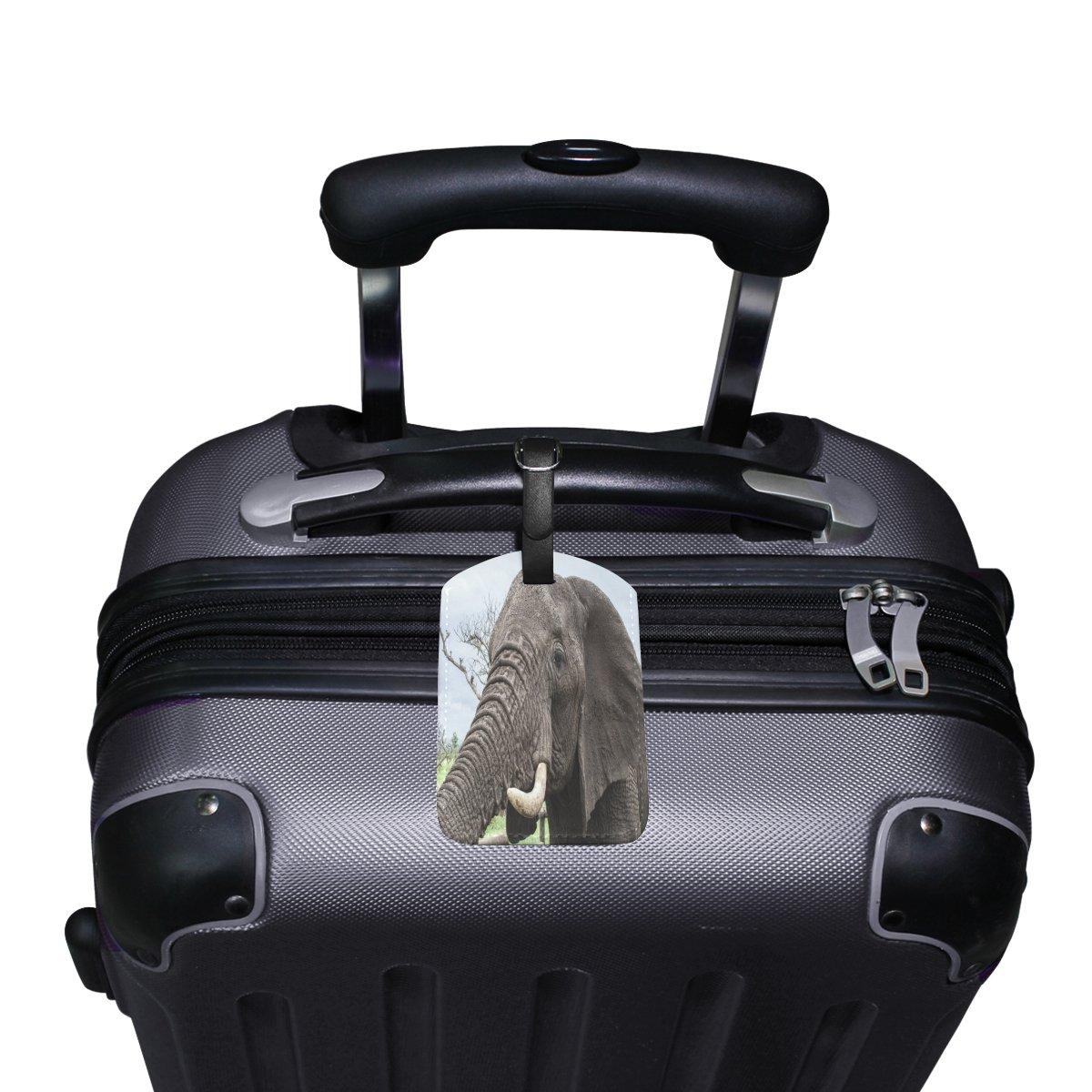 Saobao Travel Luggage Tag Lucky Elephant PU Leather Baggage Suitcase Travel ID Bag Tag 1Pcs