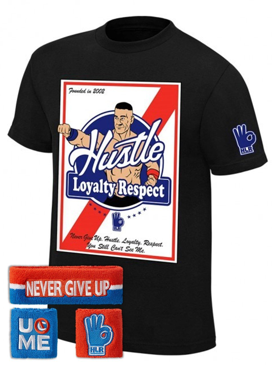 John Cena WWE Founded in 2002 T-shirt Headband Wristbands Boys Juvy-YL (14-16) by WWE