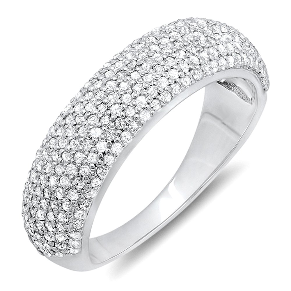0.90 Carat (ctw) 10K White Gold Round Diamond Anniversary Wedding Band Ring (Size 9)