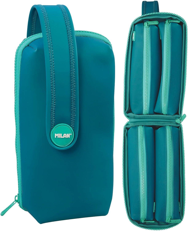 MILAN 08872MT2T - Plumier Estuche Milán Matt II color turquesa 31 piezas con 4 portatodo: Amazon.es: Oficina y papelería