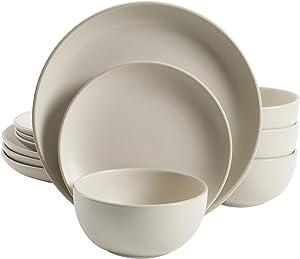 Gibson Home Rockaway Round Stoneware Dinnerware Set, Service for 4 (12pcs), Cream