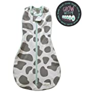 Woombie Grow with Me Baby Swaddle - Convertible Swaddle Fits Babies 0-9 Months - Expands to Wearable Blanket for Babies Up to 18 Months (Moo Gray)