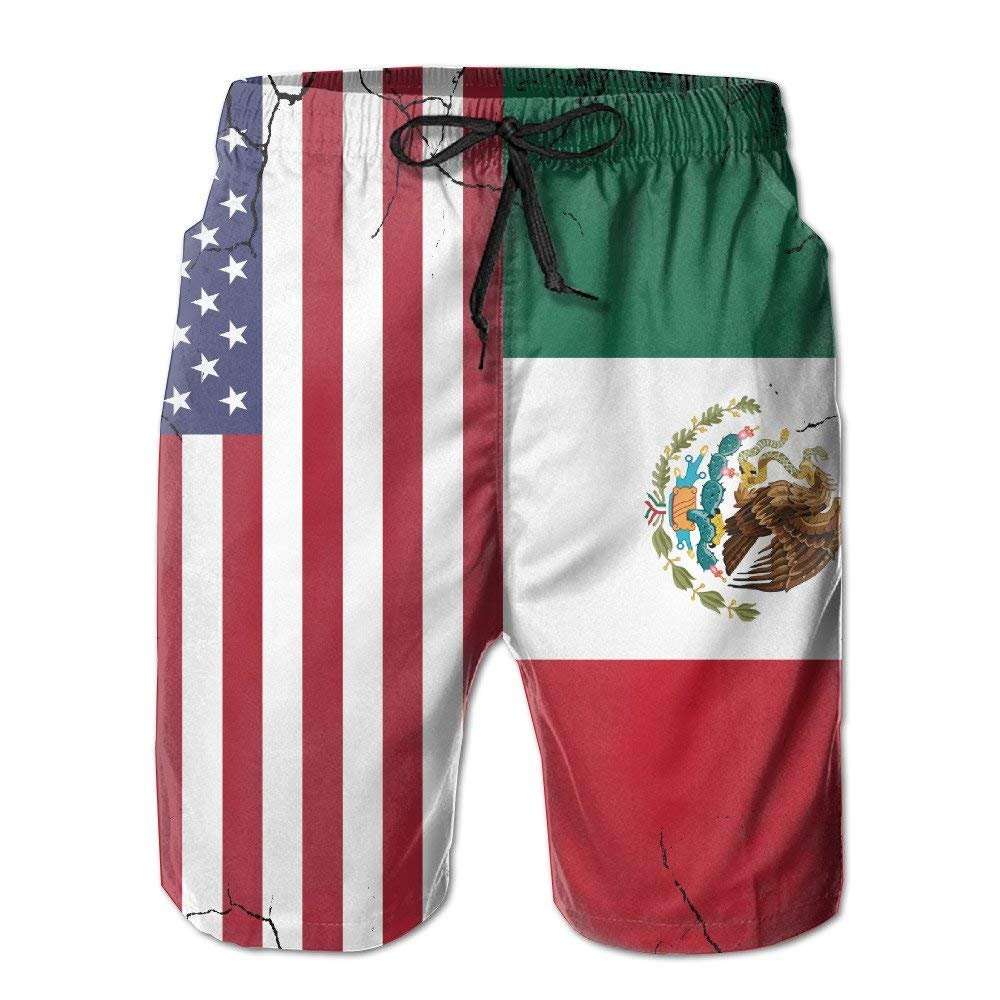 SINOVAL Mens USA Mexico Flag Crack Quick Dry Summer Beach Surfing Board Shorts Swim Trunks Cargo Shorts