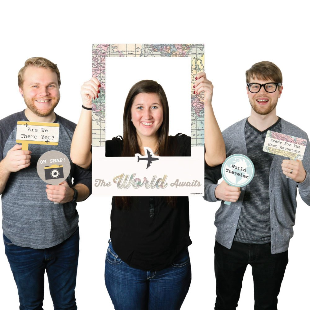Big Dot of Happiness World Awaits - Travel Themed Party Selfie Photo Booth Picture Frame & Props - Printed on Sturdy Material by Big Dot of Happiness