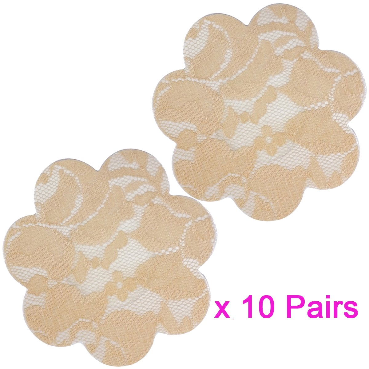 091045a307b1a 10 Pairs Sexy Lace Adhesive Nipple Cover Pasties Bra Halloween   Christmas  Style (Beige Flower) at Amazon Women s Clothing store