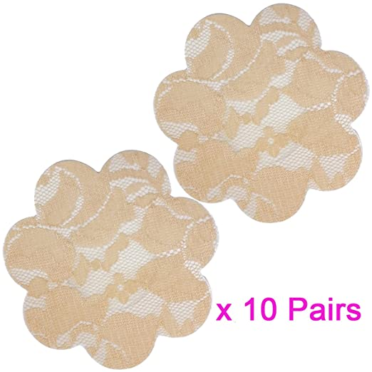 04659a98ebf 10 Pairs Sexy Lace Adhesive Nipple Cover Pasties Bra Halloween   Christmas  Style (Beige Flower