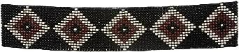 MONIQUE Women Elastic Diamond Pattern Southwest Beaded Stretch 60mm Wide Belt