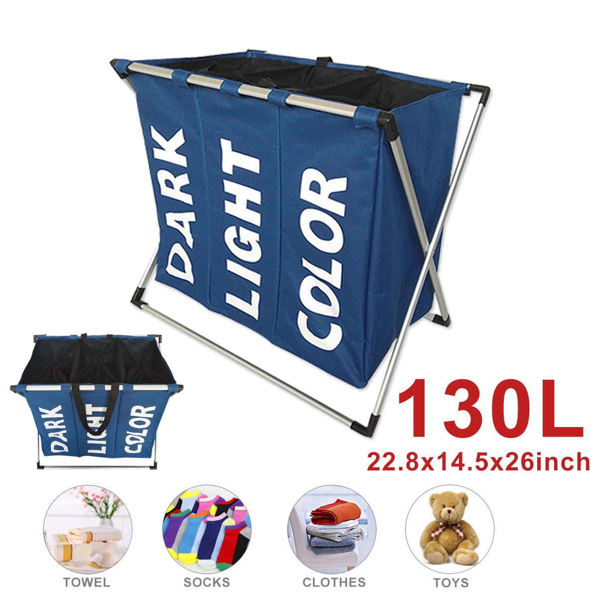 600D Panier à linge Trieuse laver panier à linge Grand sac de rangement pliant Capacité bleue Pour des vêtements / chaussettes / livres / jouets / serviettes etc. CMYKZONE