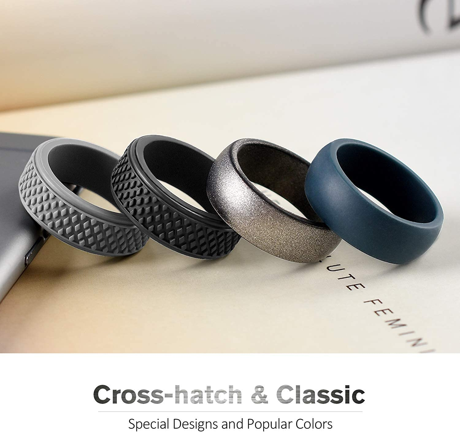 Affordable Rubber Wedding Bands for Gym Sports Leisure Work Silicone Wedding Ring for Men Classic /& Crosshatch Rings