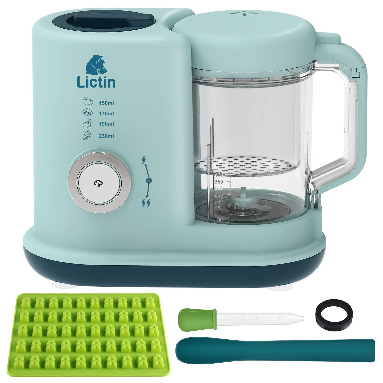 Lictin Baby Food Blender Steamer - Baby Food Processor 4 in 1 Multifunctional Healthy Baby Food Maker, Baby Food Steam Blender for Toddlers (UK Plug)