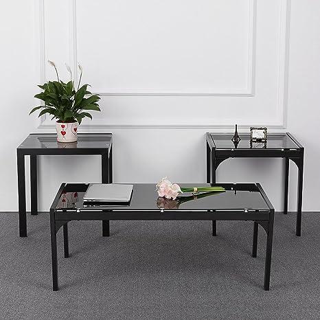 Tavolini Da Salotto Impilabili.Ikayaa Moderno E Elegante Set Di Tavoli Bassi Impilabili Tavolino Da Salotto Della Struttura Del Metallo