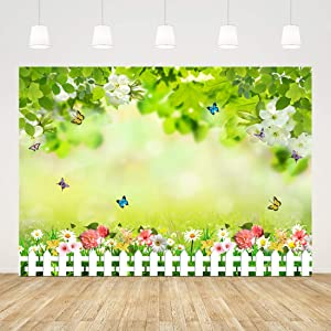 Ticuenicoa 7x5ft Green Leaves Photo Background Pink Yellow Flower and Butterfly Baby Shower Backdrop Grass Fence Wedding Bridal Shower Kids Newborn Birthday Supplies Garden Scene Studio Booth Props