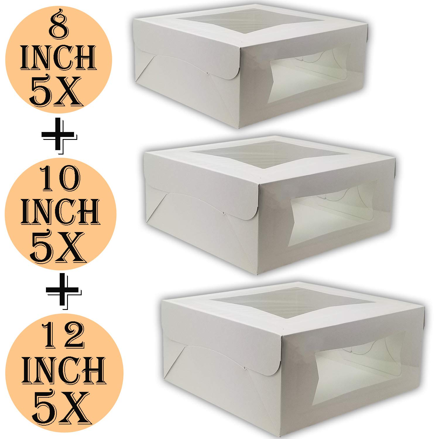 Cake Boxes 12 x 12 x 5, Cake Boxes 10 x 10 x 5 and Cake Boxes 8 x 8 x 4, Bakery Box Has Double Window, Cake Supplies, 5 Pack of Each.