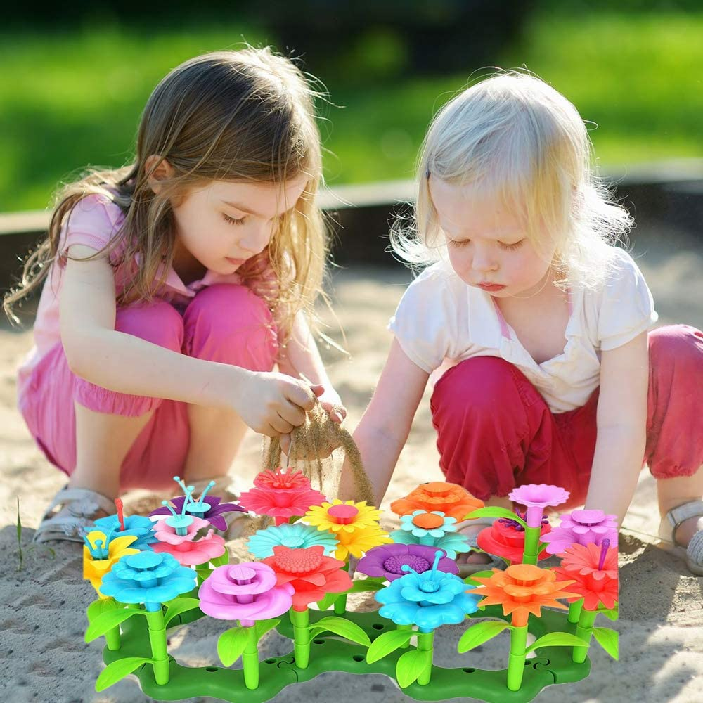 Flower Garden Building Toys Pretend Play Gift Stacking Game for Age 3 4 5 6 Year Old Kids Girls Boys DIY Build a Bouquet Sets STEM Educational Activity Toy Gardening Preschool Toddlers Playset