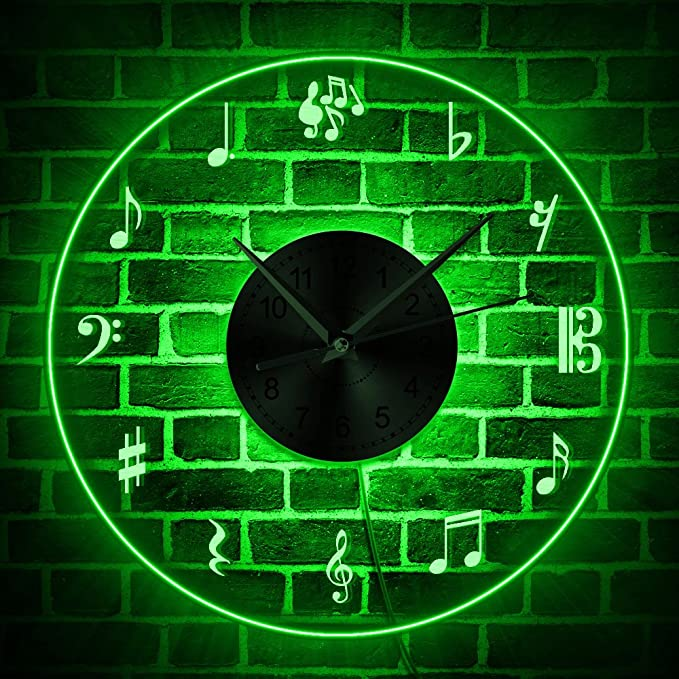 The Geeky Days  Musical Notes Wall Clock Creative Musical