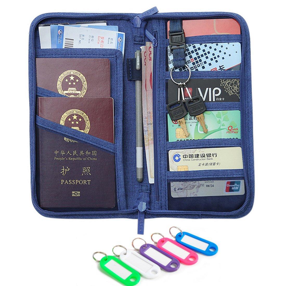 NEWANIMA Fashion Leather Women Phone Passport Holder Envelope multifunction wallet (Style2-Blue)