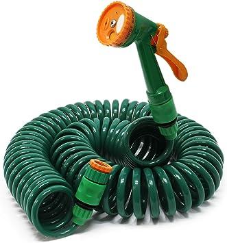 Manguera espiral riego jardín 15m tubo goma flexible regar Accesorios Casa Jardinería Plantas Brico: Amazon.es: Bricolaje y herramientas