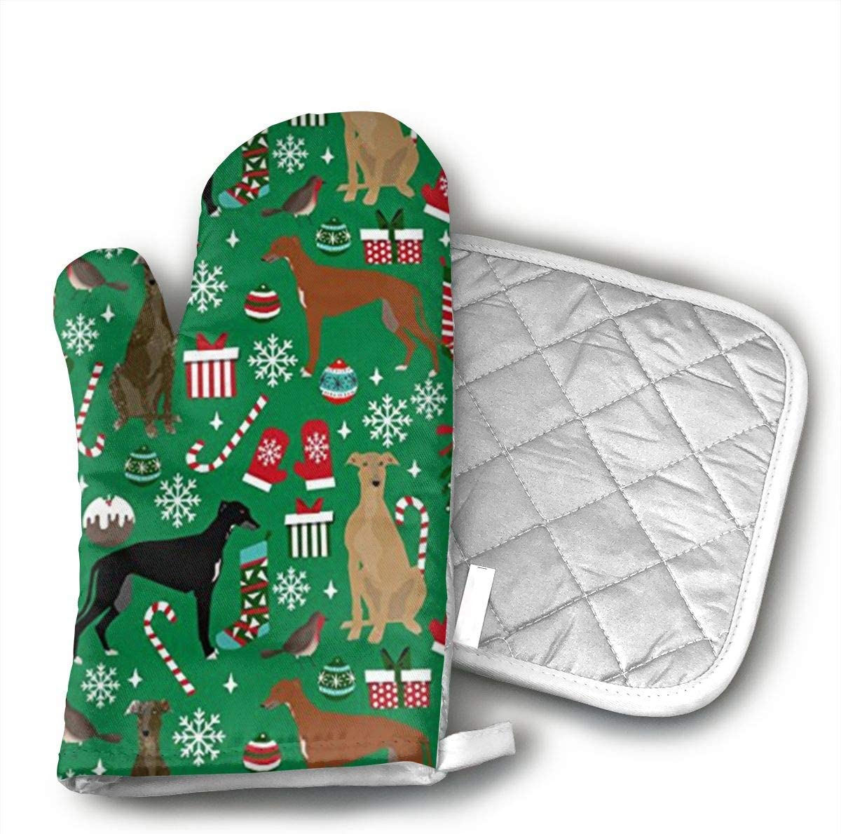 Greyhounds Christmas Snowflake Kitchen Potholder - Heat Resistant Oven Gloves to Protect Hands and Surfaces with Non-Slip Grip,Ideal for Handling Hot Cookware Items.