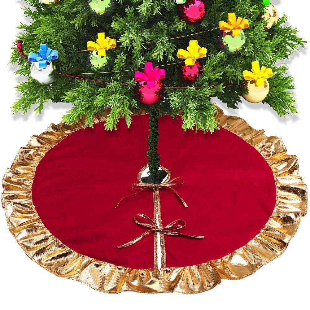 Lefu Decorazione Gonna Albero di Natale Rosso e Oro Copertina Interna Esterno Lefu Network technology Ltd