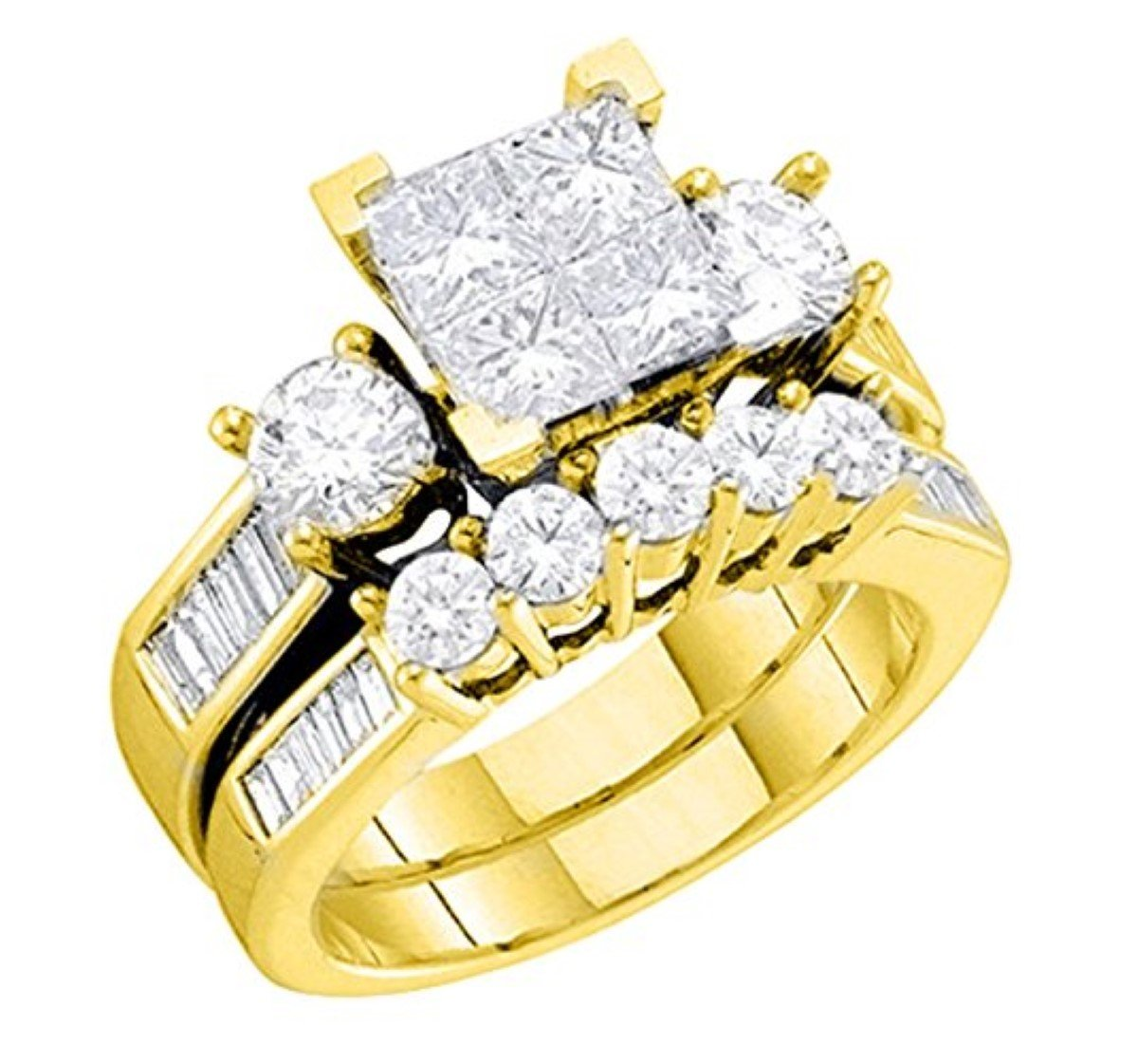 Diamond Brida10K White Gold Engagement Ring / Wedding Ring Set Princess Cut White Gold 10k 2pc Set (1.00cttw, i2/i3, I/j) (yellow-gold, 10) by Midwest Jewellery