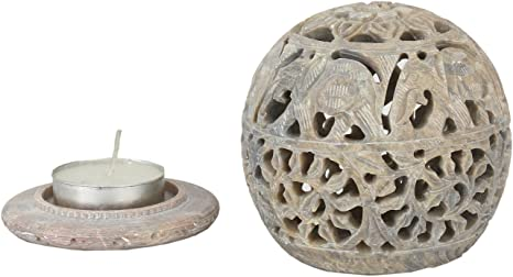 Amazon Com Carry Me Small Indian Hand Carved Soapstone Elephant Tea Light Candle Holder Wax Burner Spheres Shaped With Intricate Tendril Openwork Decorative Lantern For Home Kitchen Decor Kitchen Dining