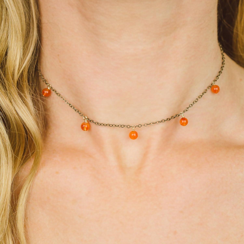 Boho carnelian bead drop choker necklace in bronze - 12