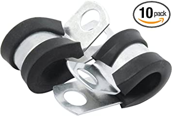 Brake Line Clip Set Steel with Rubber Insulation Pack of 10
