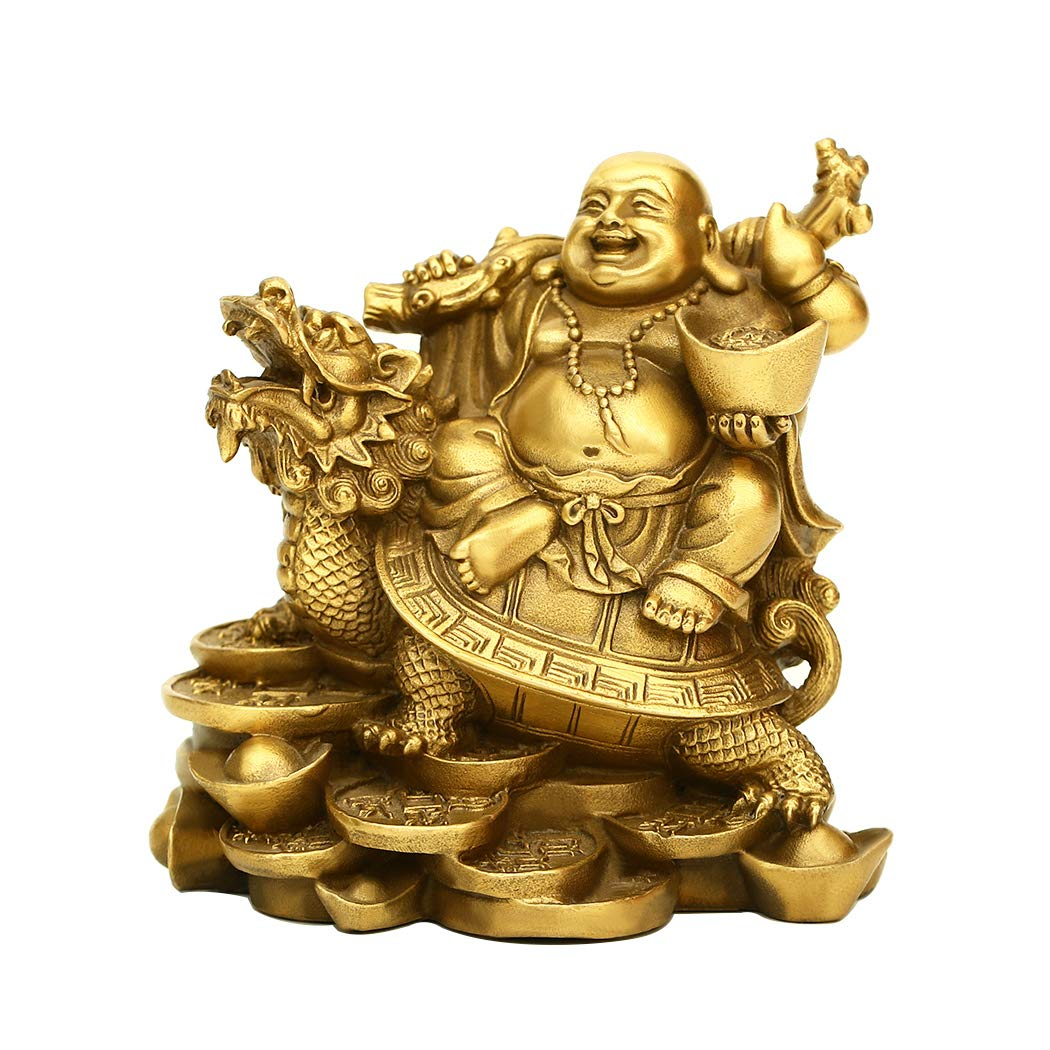 "PopTop Brass H4.5"" Ruyi Laughing Buddha and Turtle-Wealth, Good Fortune, Health Buddha Statue for Home Office Decor"